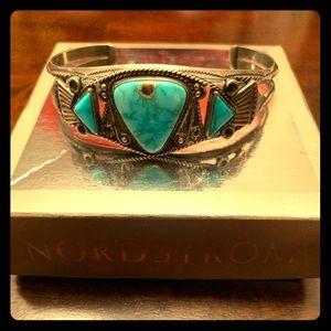 Genuine turquoise cuff bracelet